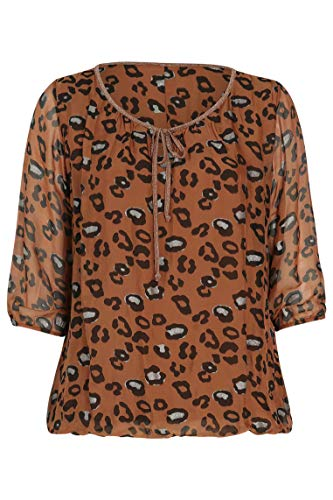 PAPRIKA Damen große Größen Bluse aus Seide und Viskose mit Tierfell-Print Rundhals 3/4 Ärmel