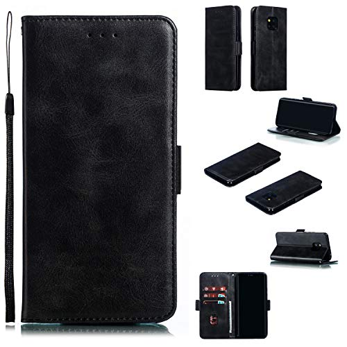 Snow Color Huawei [Mate 20 Pro] Hülle, Premium Leder Tasche Flip Wallet Case [Standfunktion] [Kartenfächern] PU-Leder Schutzhülle Brieftasche Handyhülle für Huawei Mate 20Pro - COYKB010378 Schwarz