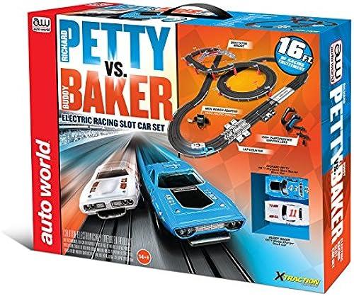Petty VS Baker NASCAR Rennbahn Slot Car Komplettset + 2 Autos Auto World SRS281