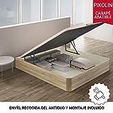 PIKOLIN, canapé abatible Gran Capacidad de almacenaje Color Natural 150x190, Servicio de Entrega Premium Incluido