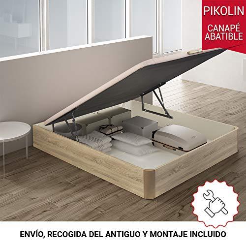 PIKOLIN, canapé abatible Gran Capacidad de almacenaje Color Natural 135x190, Servicio de Entrega Premium Incluido