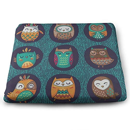 Cute Owl On Unique Leopard Print Chair Seat Cushions Pads Memory Foam Office Dining Kitchen Soft Chair Cushion Set of 4 for Pressure Relief, Wheelchairs, Patio, Cafe, Garden, Indoor, Non Slip