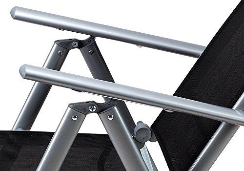Deuba Sitzgruppe Bern 6+1 Aluminium 7-Fach verstellbare Hochlehner Stühle Tisch mit Sicherheitsglas Silber Garten Set - 5