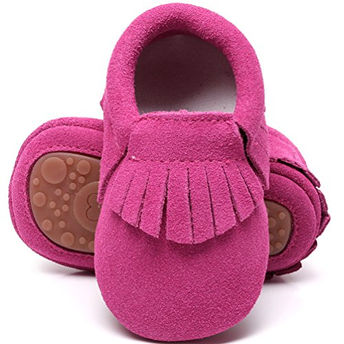 HONGTEYA Leather Baby Moccasins Hard Soled Tassel...