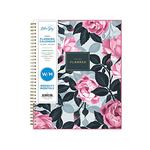 """Blue Sky 2021-2022 Academic Year Weekly & Monthly Planner, 8.5"""" x 11"""", Frosted Flexible Cover, Wirebound, Roosevelt Pink (128692)"""