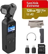 2019 DJI Osmo Pocket Handheld Axis Gimbal Stabilizer with Integrated Camera, Comes 128GB Extreme Micro SD, Attachable To Smartphone, Android, iPhone (Renewed)