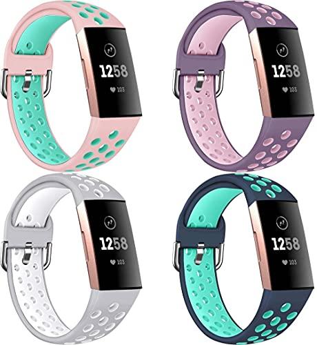 Gransho Silikon Uhrenarmband kompatibel mit Fitbit Charge 4 / Charge 3 SE/Charge 3 / Charge 3 Special Edition, Ersatzarmband Sportarmband Uhr Zubehör (4-Pack I)