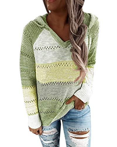 Minetom Damen Knit Hoodie Sweatshirts Langarm Hoodies Casual Patchwork Stricken Kapuzenpullover Gestrickt Herbst Pullover Tops A Grün XL