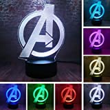 Avengers Logo - Marvel Comics - Night Light - The Avengers 4 Sign Model 3D Illusion LED USB Touch Colourful Lamp Marvel Avengers Endgame Logo Figuras Light-up Toys Creative Cartoon Personalized Decor