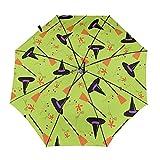 Sombrero de mago y escoba paraguas plegable portátil compacto ligero diseño automático y alta resistencia al viento