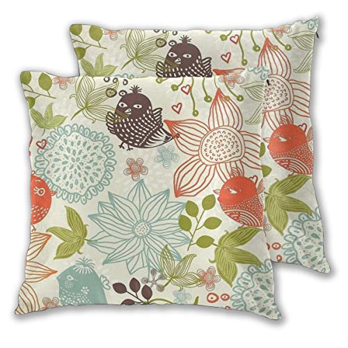 Throw Pillow Covers Flower Bird Element Cushion Covers Soft Polyester Square Decorative Throw Pillow Case For Living Room Sofa Couch Bed Pillowcases 2pc Variety Of Sizes