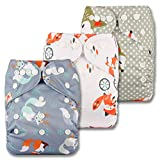 Littles & Bloomz, Reusable Pocket Cloth Nappy, Fastener: Popper, Set of 3, Patterns 309, Without Insert