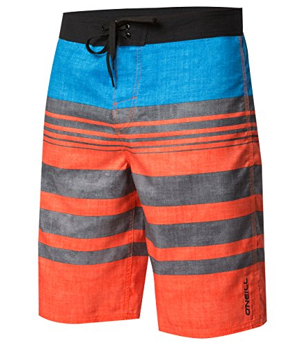 O'Neill Men's Santa Cruz Striped Boardshorts, Bobcats Deal Troy Orange, Size 32