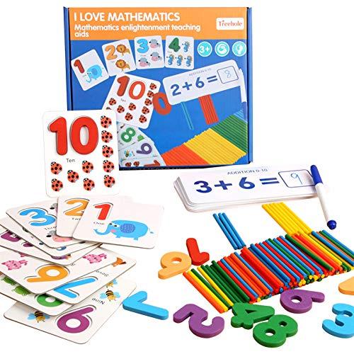 Aibecy Juego de aprendizaje de números Rompecabezas de emparejamiento Tarjetas flash de números Ejercicio de suma y resta Juego STEM para niños y niñas de 4 a 6 años