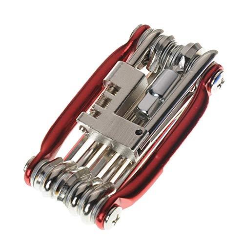 Acptxvh 15 dans 1 Outils de réparation Multifonction Kit de vélo Hex Spoke vélo Tournevis Outil VTT Vélo de Montagne Vélo Repair Tool,Rouge