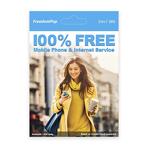 FreedomPop LTE SIM Kit - 3-in-1 - Voice/Data Bundle Prepaid Carrier Locked - 1 GB