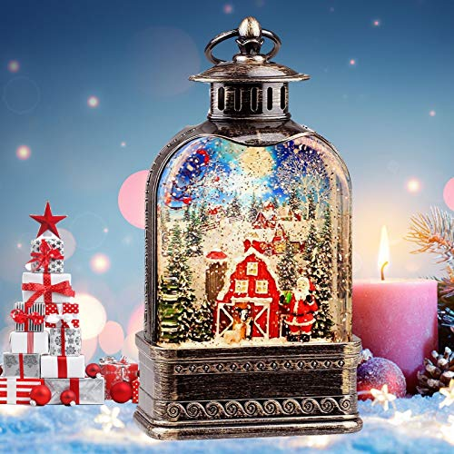 11 inch Christmas Snow Globe Lantern, Musical Lighted Water Globe, Cardinal Redbird USB/ 3AA Batteries Operation Xmas Water Lamp, Charming for Family/Friend(Santa in Snow Village)