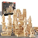 Product Image of the FAO SCHWARZ {150 Piece Set} Wooden Castle Building Blocks Set, Toy Solid Pine...