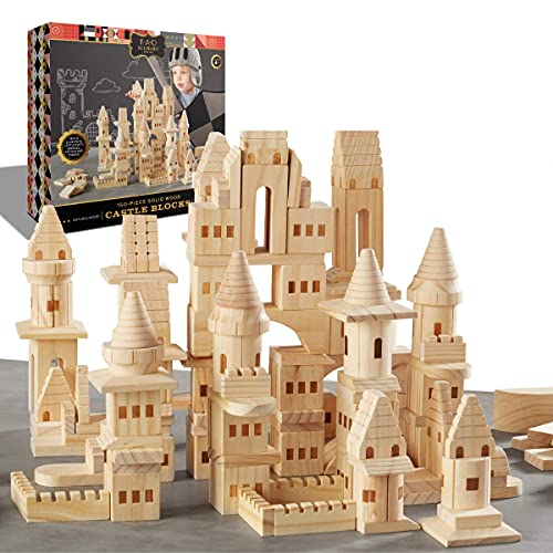 FAO SCHWARZ {150 Piece Set} Wooden Castle Building Blocks Set, Toy Solid Pine Wood Block Playset Kit for Kids, Toddlers, Boys, and Girls