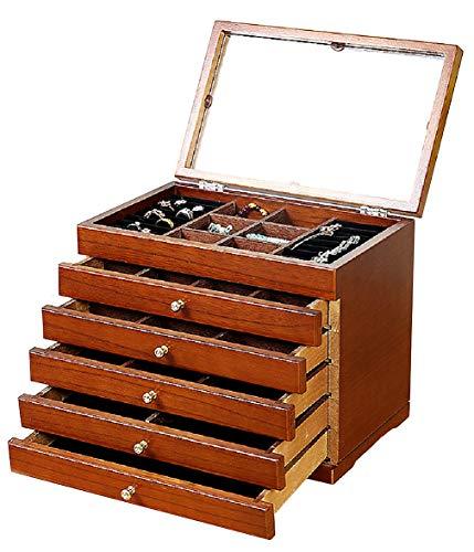 Anberotta ジュエリーボックス アクセサリー コスメ メイク ボックス 小物入れ ケース マルチ 収納 宝石箱 収納箱 ミラー 鏡付き 宝箱 AT19 (ブラウン)