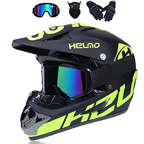 LALAGOU - Casco de motocross para niño, casco de moto de cross, para adulto, para MTB, ATV, con gafas, guantes, máscaras, color múltiple (A, XL (58-59 cm)