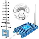 Cell Phone Signal Booster PCS 1900MHz Band 2/25 FDD 2G 3G Mobile Signal Repeater Amplifier Including Outdoor Directional Yagi Antenna for Home and Office (Blue)
