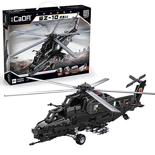 CADA C61005 Technik Hubschrauber, 1689 Teile Technik Helikopter Militär Technic Ferngesteuert Hubschrauber mit Motor und Fernbedienung Bauset Kompatibel mit Lego Technik