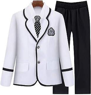 AMIGGOO 子供スーツ 5点セット フォーマル 紳士服 スーツ 女の子 男の子 リボン エンブレム スカートスーツ 小学生制服 入学式 卒業式 七五三 発表会 学院風 コーラス衣装 ブラック ネイビー ホワイト 110 120 130 140 150cm
