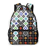 LNLN Mochila Casual para niñas Square Texture Flower Laptop Backpack School Backpack for Men Women Lightweight Travel Casual Durable Daily Daypack College Student Rucksack 11 5in X 8in X 16in