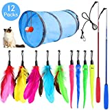 Syeenify Feather Teaser Cat Toy, Retractable Cat Wand Toys & Replacement Cat Teaser, Interactive Cat Feather Toy Funny Exercise for Kitten Cats