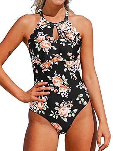 CUPSHE Damen Badeanzug Blumenmuster High Neck Wellenkante Einteilige Bademode Swimsuit Schwarz/Blumen L