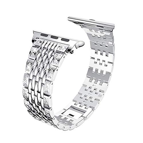 Fhony Compatible Apple Watch Band 38Mm 40Mm 42Mm 44Mm Stainless Steel Watch Band Bling Bands Diamond Rhinestone Studded Replacement Strap for Iwatch Series 6 5 4 3 2 1 SE,Silver,42/44mm