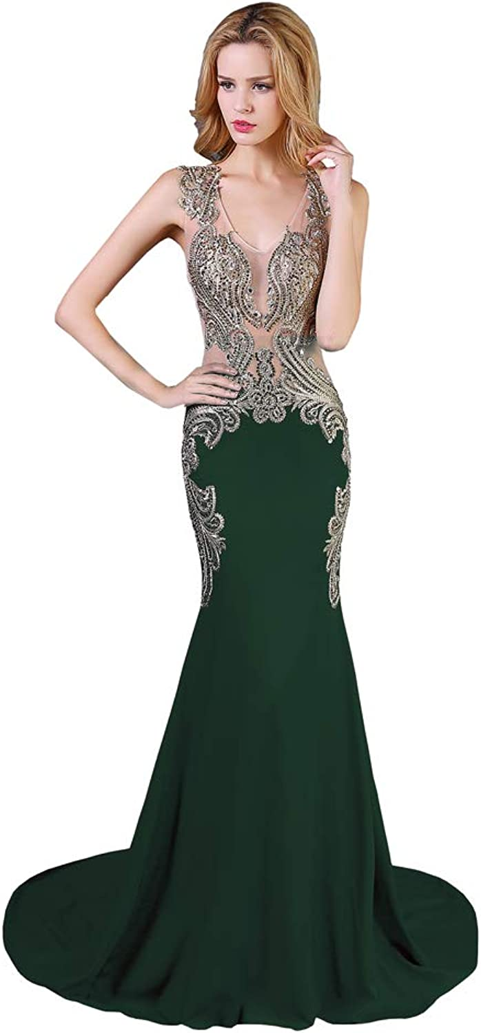 Topbridal Women's Luxury Crystals Mermaid Evening Party Dress