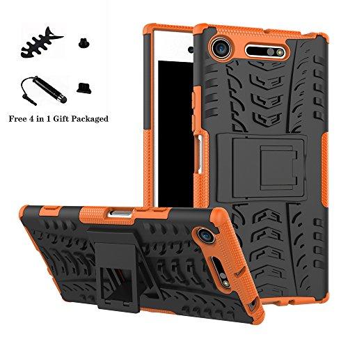 LiuShan Sony XZ1 Hülle, Dual Layer Hybrid Handyhülle Drop Resistance Handys Schutz Hülle mit Ständer für Sony Xperia XZ1 Smartphone (mit 4in1 Geschenk verpackt),Orange