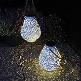 Gadgy Lanterna Solare Bianco Opaco | Set Di 2 | Lampade Da Giardino A Led Per Esterno | Lanterne Per Tavolo, Balcone E Terrazzo | Metallo E Corda | Ip65 Impermeabile