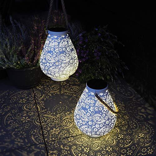 Gadgy Farolillos Solares Exterior Blanco Mate | Juego De 2 | Linterna Solar LED | Espléndida Decoración Para Jardin, Balcon O Terraza | Metal Y Cuerda | Impermeable Ip65