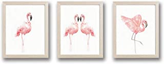 """Framed Pink Flamingos Love Art Print Set of 3 (10""""X8"""")-Ready to Hang Tropical Bird Animal Wall Poster, Modern Watercolor Canvas Artwork for Girls Nursery Couples Bedroom"""