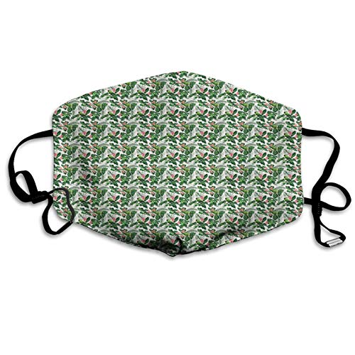 Tropical Animals, Breadfruit Palm Leaves and Plumeria Flowers with Birds Repetitive Pattern, Multicolor Mouth Cover for Women,Face Mask Reusable Washable Cloth for Men