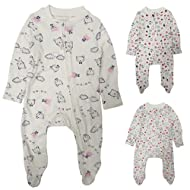 SUPER SOFT COTTON - We all want to hug babies constantly and now we are going to want to snuggle them even more when they are wearing these babygrows in a super soft cotton fabric. FOLDABLE MITTS - No more scratches with these perfect little foldable...