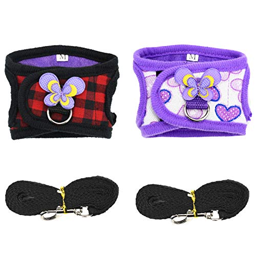 Guinea Pig / Chinchilla Harness with Leash Set- Adjustable Vest for Hamster/ Small Bunny/Squirrel/Walking (2 Pack)