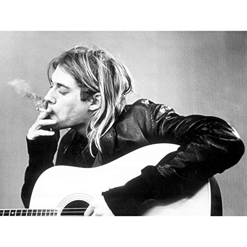 Kurt Cobain Smoking Nirvana 3D Poster Wall Art Decor Print | 11.8 x 15.7 | Lenticular Posters & Pictures | Memorabilia Gifts for Guys & Girls Bedroom | Guitar Black & White Rock and Roll Picture