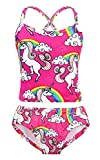 Cotrio Unicorn Swimsuit Girls Two Pieces Bikini Set Rainbow Bathing Suit Children Kids Holiday Pool Party Swimming Tankini Swimwear Size 4T (3-4 Years, Hot Pink, 110)