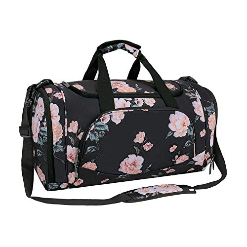 MOSISO Sports Duffel Peony Gym Bag with Shoe Compartment for Men/Women Dance Travel Weekender, Black