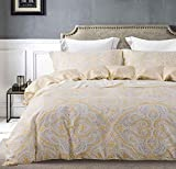 SLEEPBELLA King Duvet Cover Set Cotton, Paisley Beige and Gold Christmas Bedding, Scroll Medallions Themed Ornamental Motif Royal Venetian Swirl, Hypoallergenic and Soft