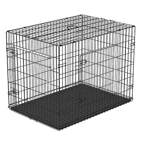 PawHut Gabbia per Animali Domestici Trasportino per Cani e Gatti Pieghevole in Acciaio Doppia Apertura 76 × 53 × 57cm Nero