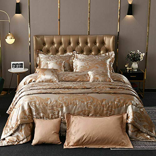 ARITRADERSLTD Jacquard Satin Silk 3 Pieces Duvet Quilt Cover Reversible Embroidered Hotel Quality Super Soft Firm Support Bedding Set with Pillowcases and Cushion Covers - Peach - Single