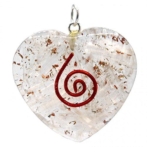 Colgante Orgone de selenita con forma de corazó
