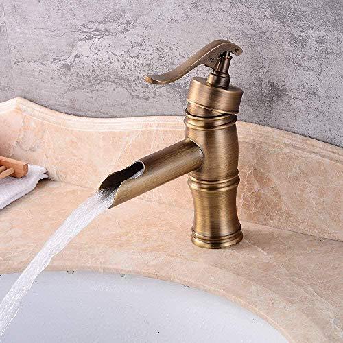 Grifo de cocina Estilo rústico Lavabo de baño cepillado Cobre completo Agua caliente y fría Aire acondicionado retro Hogar Hotel Grifo de elevación de un solo orificio Baño
