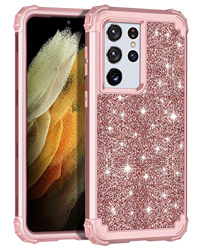 LONTECT for Galaxy S21 Ultra 5G Case Glitter Sparkle Bling Heavy Duty Hybrid Sturdy High Impact Shockproof Protective Cover Case for Samsung Galaxy S21 Ultra 5G 6.8 2021, Shiny Rose Gold