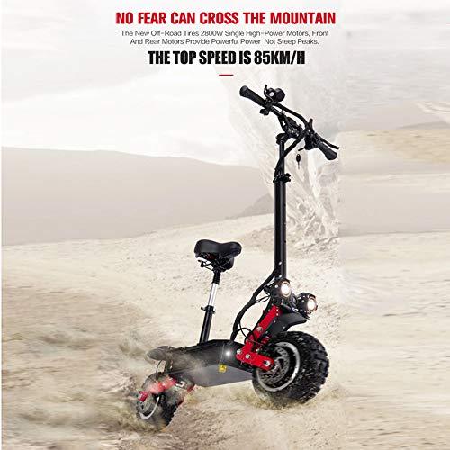 Elektrische bicycle elektrische scooter voor volwassenen, 5500 W, dubbele motor, max. Snelheid 85 km/h 11 inch offroad-banden inklapbare pendelroller met zitting en 60 V batterij voor offroad-liefhebbers 60 V 28,6 Ah.